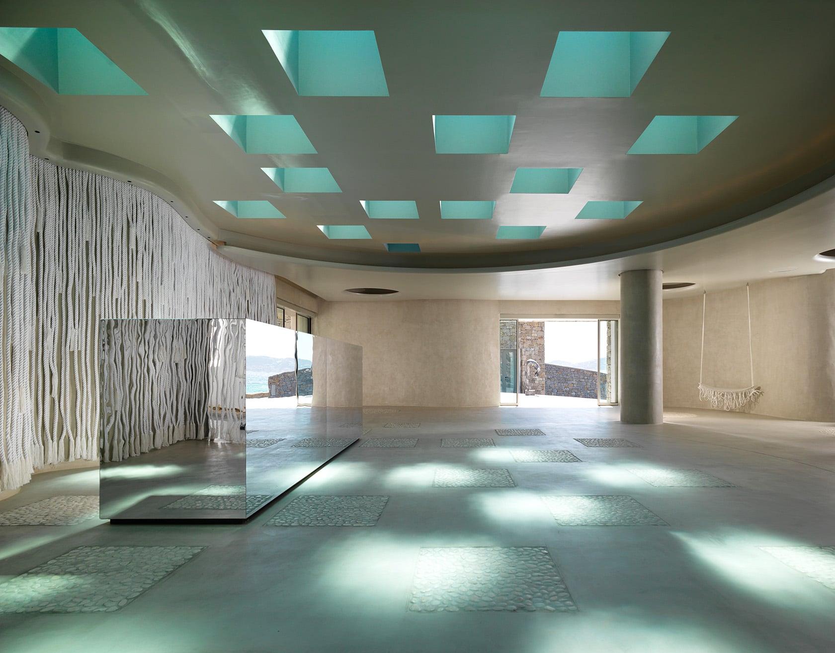 Modern decor at the reception room of luxury Mykonos Riviera Hotel & Spa.